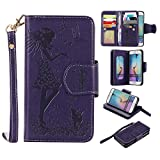 Galaxy S6 edge Wallet Case,XYX [9 Card Slot Series] Wallet Folio PU Leather Case Cover With Makeup Mirror and Wrist Strap Case for Samsung Galaxy S6 edge [Purple]