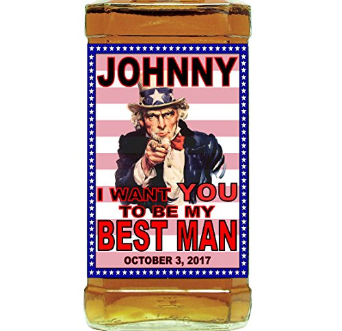 Set Of 4 Uncle Sam Will You Be My Groomsman Best Man Wedding Favor Gift From Groom Bridal Party Patriotic America Label Whiskey