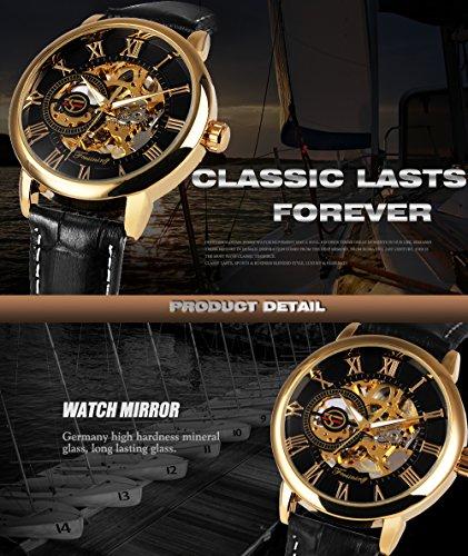 2017 Caluxe Luxury Golden Men Mechanical Watch Royal Man Series Skeleton Roman Number Leather Band