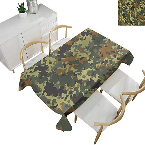 Camo,Oblong Tablecloth Classical Germany Camouflage Pattern Forest Jungle Military Colors Polyester Washable Table Cover Dark Green Light Green Brown 60