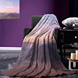 smallbeefly Adventure Digital Printing Blanket Ethereal View of Kawah Ijen Crater in Indonesia Scenic Misty Land Summer Quilt Comforter Pale Pink Tan Pale Blue