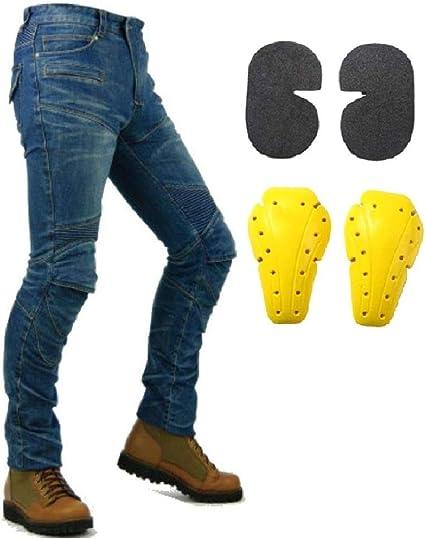 Protection Moto Pantalon Jeans Renforc/é avec Protection Aramide Doublure ,Bleu,S