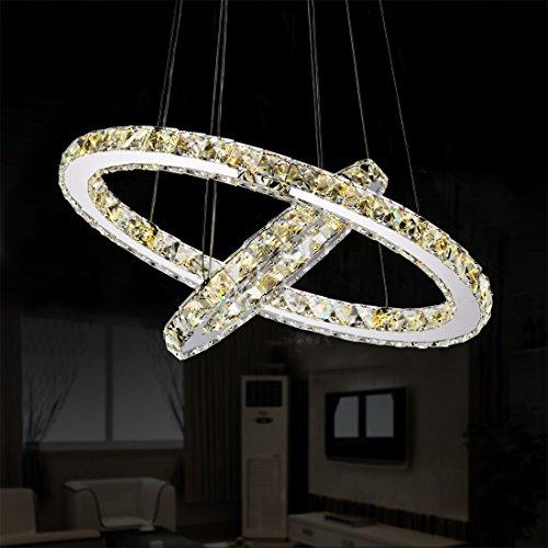 Garwarm Modern Crystal Chandeliers,Ceiling Lights Fixtures,Pendant Lighting for Living Room Bedroom Restaurant Porch Dining Room,2 Rings DIY Design(D19.7+11.8