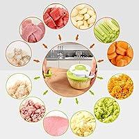 Compra 1L Picadora de Alimentos Manual Cortador de Verduras con 3 ...