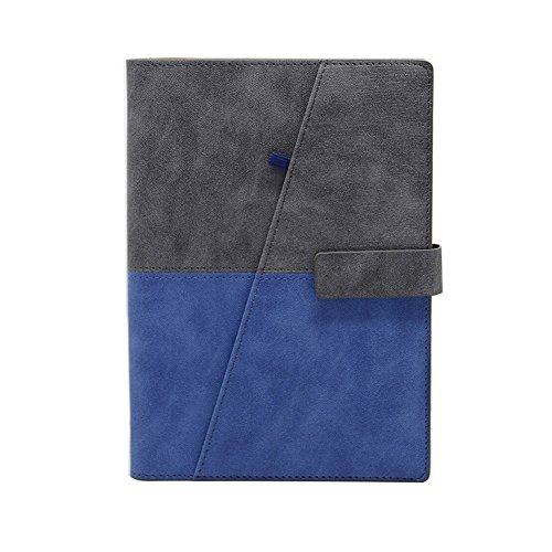 WCR Refillable Notebook - Loose-Leaf Writing Journal Spiral Bound Diary - Executive Personal Organiser with Card Pockets - Pen Loop - Magnetic Clip - Ruled Paper 160Pages (Grey and Blue - A5)