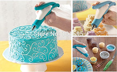 Lescorecor(TM)New Novelty Cake Cream Pen Decorating Flower Framed DIY Baking & Pastry Tools Clean Reusable Pen Mold