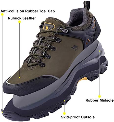 CAMEL CROWN Hiking Shoes Men Trekking Shoe Low Top Outdoor Walking Waterproof Leather Trail Sneakers Green Size: 10 D(M) US(Pls Order a Half Size Down)