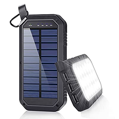 Solar Charger, Dostyle 8000mAh Portable Solar Power Bank External Backup Battery Pack 3 USB Ports Solar Phone charger with 21 LED light for iPhone, iPad, Samsung Galaxy & other Android Smart Devices from dostyle