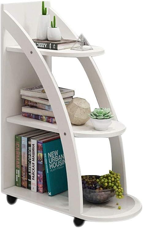 HM&DX Madera Librería con Ruedas de, 3-Tier Almacenaje Biblioteca Escalera VersÁtil Mesa de sofá Estante de exhibición para Salon Oficina Dormitorio -Blanco: Amazon.es: Hogar