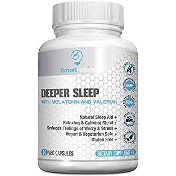 SmartHabits Deeper Sleep Natural Sleeping Aid with Melatonin and Valerian Root | Vegan | 60 Veg Caps Non-Habit Forming, Herbal Adult Pills | 100% Safe ...