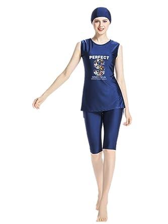 338a1ebb1682d KXCFCYS Muslim Swimsuit Modest Swimsuits Islamic Swimsuits Swimwear Maillot  Short Sleeve Women Swimsuit Islam (Large