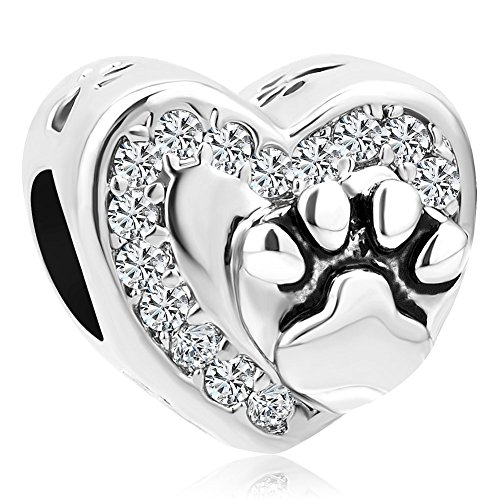 LilyJewelry Pet Dog Cat Paw Print Heart Charm Bead For Bracelet