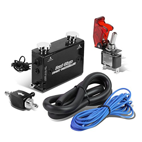 Dual Stage Turbocharger Boost Electronic Controller Kit + Rocket Switch (Black)