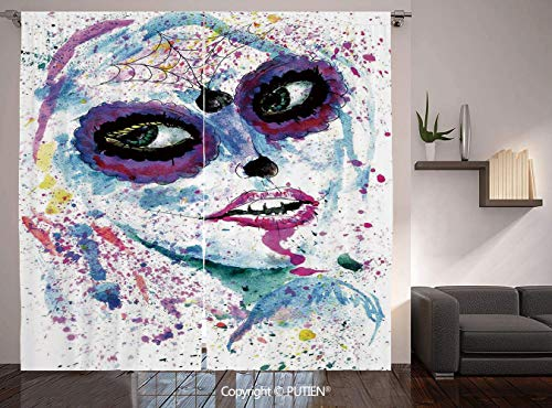Thermal Insulated Blackout Window Curtain [ Girls,Grunge Halloween Lady with Sugar Skull Make Up Creepy Dead Face Gothic Woman Artsy,Blue Purple ] for Living Room Bedroom Dorm Room Classroom Kitchen -