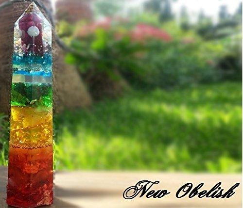 Orgonite ® Orgone Obelisk Pyramid, 7 Chakra orgonite (Agate Obelisk)