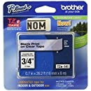 Brother Tape, Retail Packaging, 3/4 Inch, Black on Clear (TZe141) - Retail Packaging