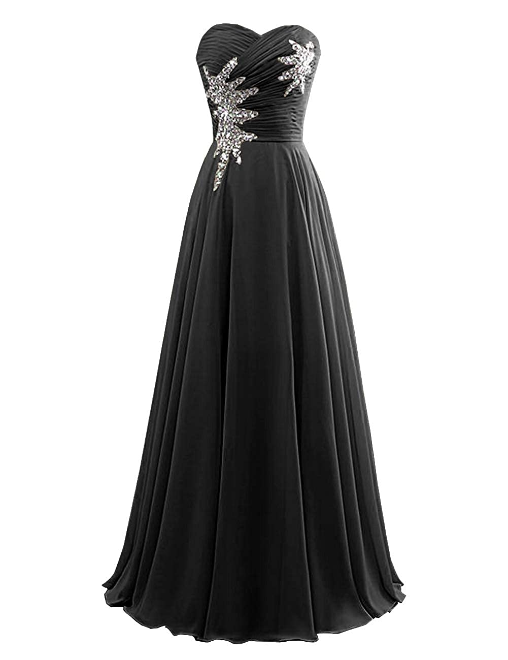 Black Women's Strapless Bridesmaid Dresses Beaded Prom Wedding Party Gowns