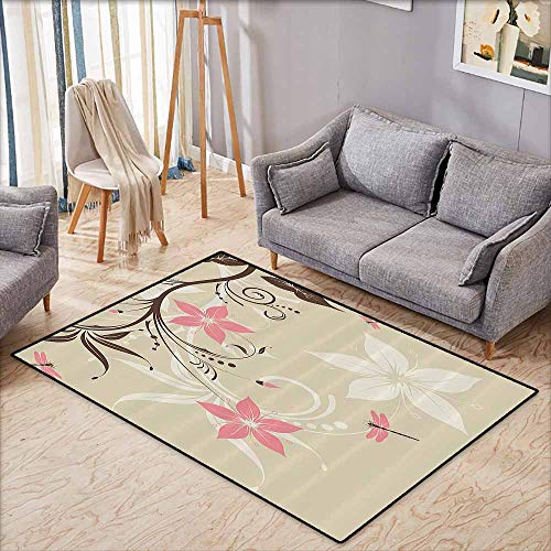 (Collection Area Rug,Country Decor,Floral Background with Dragonflies and Spiral Fashioned Foliage Bud Elements Artsy Print,Ideal Gift for Children,5'6