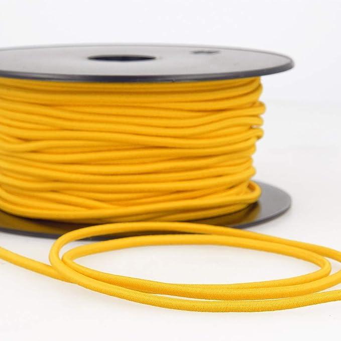3 mm de largeur Cordon /élastique rond rayonne 17 couleurs 1 Metre jaune dor/é