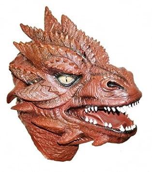 The Rubber Plantation TM 619219293259 - Máscara de dragón de látex rojo de lujo, cabeza