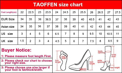 TAOFFEN Pump Silp Shoes Women Heel Heel Fashion Classic On Black High TBrOwTqA