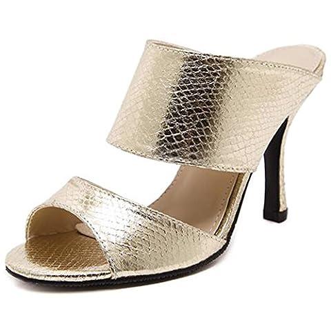 Summerwhisper Women's Sexy Snake Pattern Peep Toe Stiletto High Heel Mules Patent Leather Slide Sandals Gold 7 B(M) US
