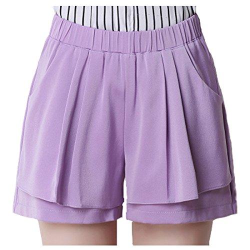 Sidiou Group Shorts in chiffon donna Pantaloncini estivi casual estivi Pantaloni in vita elastica Pantaloncini da spiaggia Lady Fashion Beach Viola