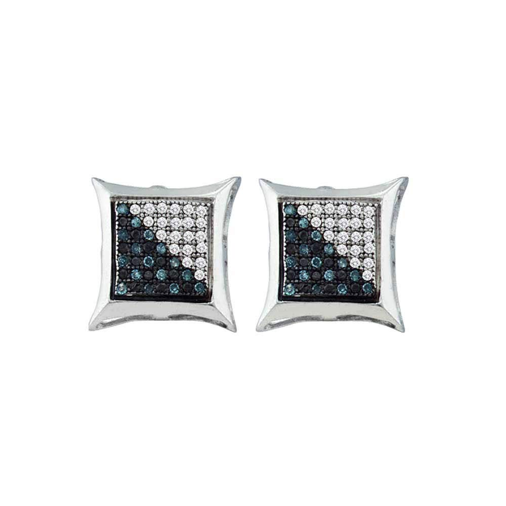 Sterling Silver Blue Diamond Mens Cluster Earrings 1//6 ct