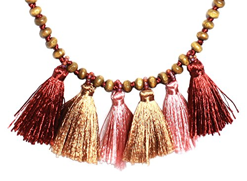 [BDJ Handmade Varicolored Tassels Pendant Beads Necklace 18 Inches] (Red Dancing Girl Emoji Costume)