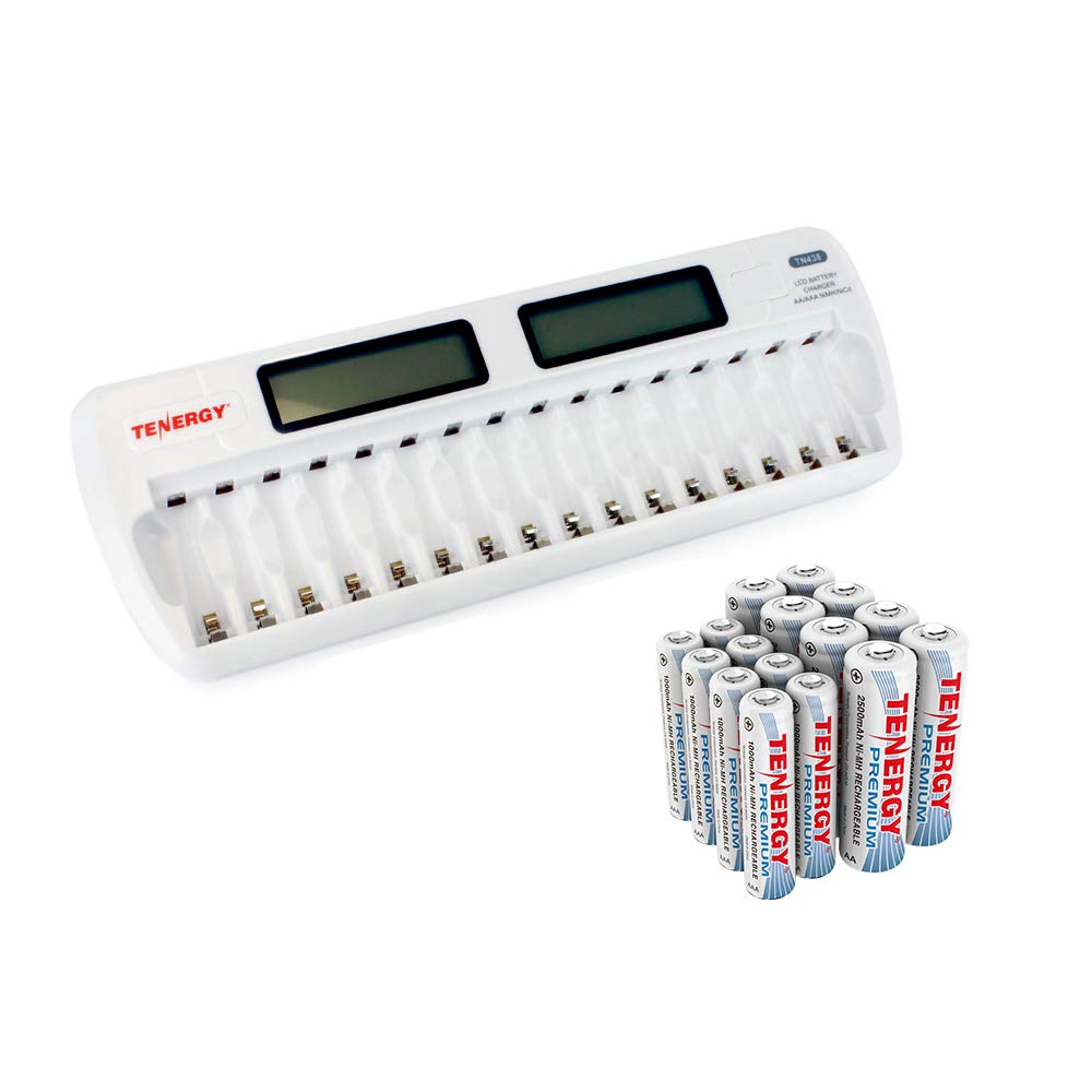 Tenergy tn438 16-Bay Auto-Detect AA/AAA NiMH/NiCd LCD ...