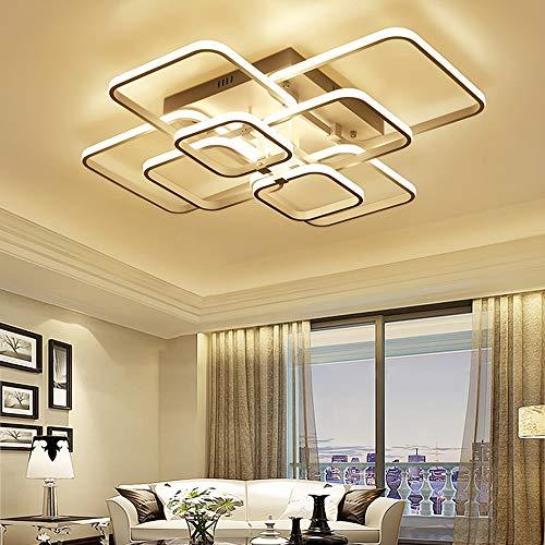 Plafones LED regulable con control remoto color de la luz/brillo marco blanco lacado ajustable de metal cuadrado Moderno diseño creativo lámpara de techo ...