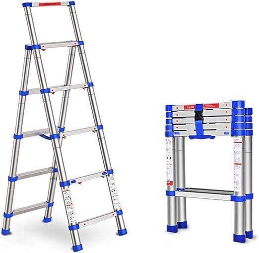 Escalera telescópica Escalera plegable para uso doméstico Escalera multifunción interior telescópica Escalera de aluminio de aluminio grueso Escaleras de mano (Color : Silver , Size : 92*45*165cm) : Amazon.es: Hogar