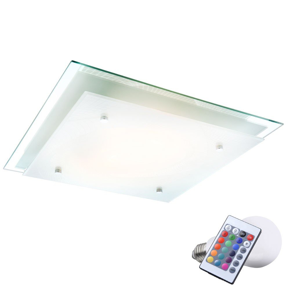 12 Watt LED RGB LED Watt Decken Leuchte Dimmer Beleuchtung gemusterte Glas Lampe Farbwechsler fe2ae2