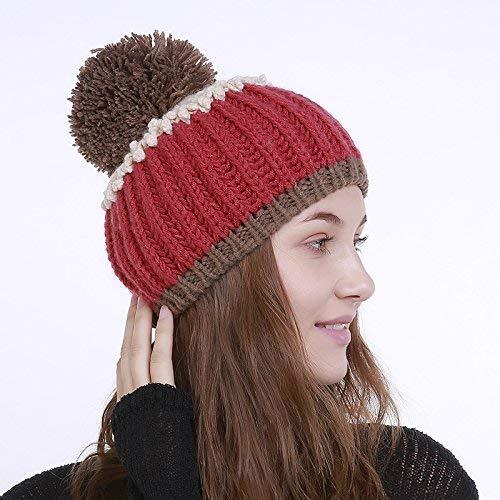 Achun Mütze Handgefertigter gewebter großer Wollknäuelhut im Herbst und Winter Mehrfarbennaht vertikal gestreifter Wollmütze (Farbe  Rot)