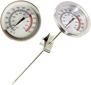 RenGard Mechanical Meat Thermometer with Clip - Instant Read - Stainless Steel - Metal Meat Thermometer Turkey - BBQ - Grill - Waterproof - No Battery Required