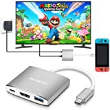 JAVONTEC USB C to HDMI Hub Dock for Nintendo Switch, USB Type C to HDMI Adapter Converter with 4K HDMI, USB 3.0, Power Delivery Compatible with MacBook Pro, HP Spectre, Samsung S8/Note 8, Silver