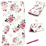 LG G4 Case, Premium Stylish Flip PU Leather Folio Style Wallet Case Cover Card With Magnetic Flap and Bulit in Card Holder for LG G4 2015 Release -[Floral Rose Pattern]