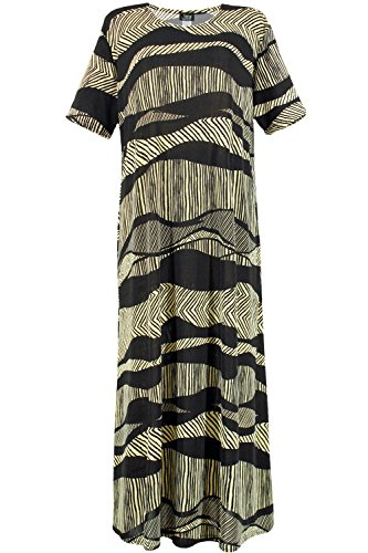 Jostar Stretchy Long Dress with Short Sleeve, Print in Abstract (Abstract Design Dress)