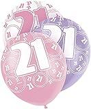 Unique Party - 80873 - Paquet de 6 Ballons en Latex - 21e Anniversaire - 30 cm - Rose Glitz