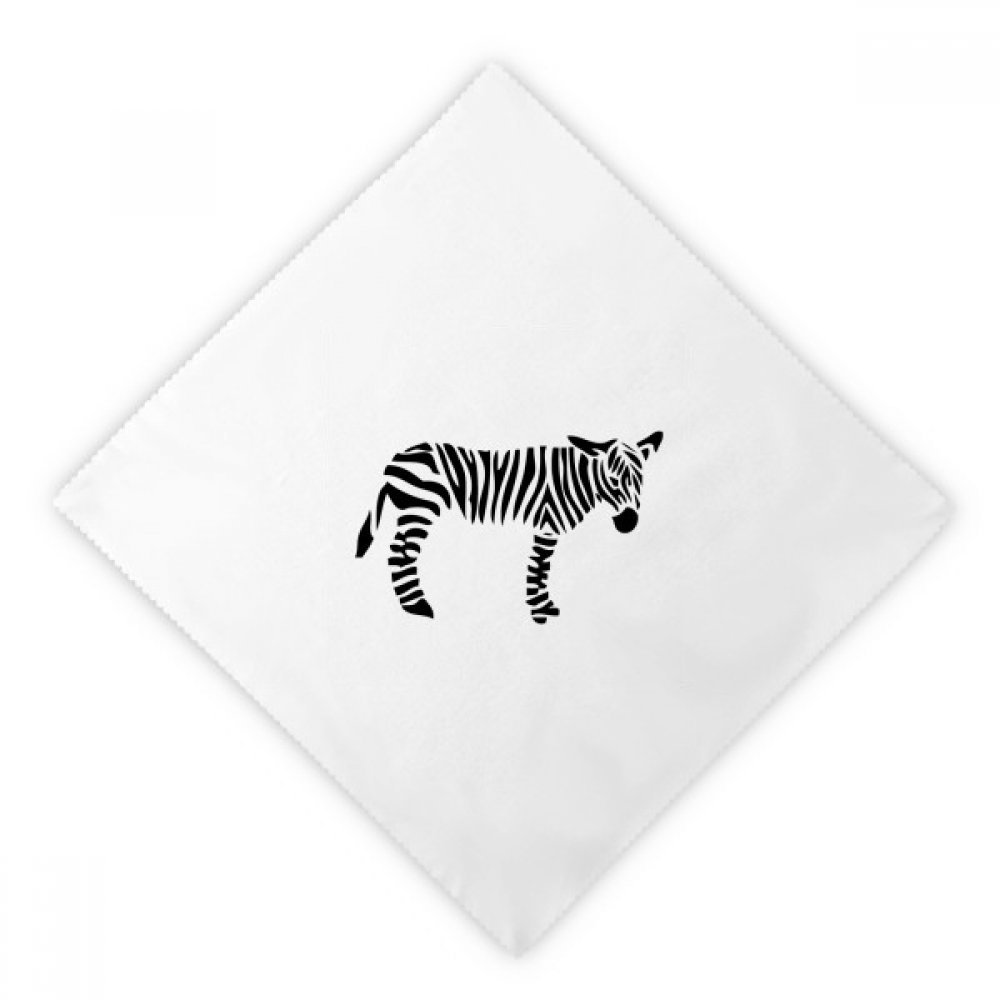DIYthinker Black Animal Zebra Silhouette Natural Dinner Napkins Lunch White Reusable Cloth 2pcs