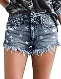 luvamia Women's Mid Rise Jean Shorts Frayed Raw Hem Denim Shorts Blue-N, Size S
