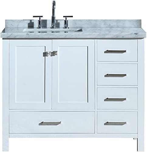 DKB Beckford Series 43 Bathroom Vanity Cabinet in White Single Left Offset Rectangle Sink Carrara White Marble Countertop 2 Soft Closing Doors 5 Full Extension Dovetail Drawers No Mirror