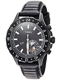 Timex Men's TW2R39900 IQ+ Move Multi-Time Black Leather Strap Watch