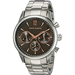 Vince Camuto Men's VC/1085DGSV The Chairman Multi-Function Dial Silver-Tone Bracelet Watch