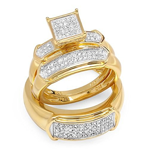 0.45 Carat (ctw) 18K Yellow Gold Plated Sterling Silver Round Diamond Men & Womens Bridal Ring Trio Set