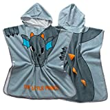 Hooded Towel For Kids Toddlers Grey Dinosaur Pattern Children Bathrobe Organic Cotton Kids Baby Wetsuit Swimwear Changing Towel Beach Bath Robe Beach Hooded Bath Towel For Unisex Toddler Boys Girls Fo