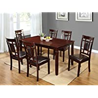 Home Source H-40210-7 7-Piece Davis Collection Asian Hardwood Dining Set, 30 x 60 x 36, Black