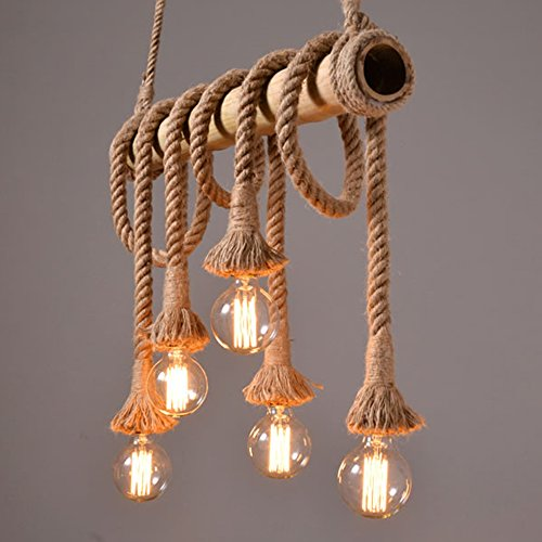 Ting W Industrial Hemp Rope Bamboo Edison Led Antique Metral 6 Light Pendant Hanging Light Buy