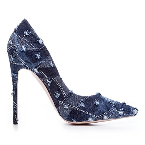 Flower High Match Heel Shoes Toe Pointed Denim Wear amp;1011 Pumps Blue Thin Usual Women's 4BHnqxpx