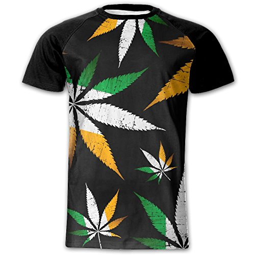 Ireland Flag Weed Men 3D Pattern Printed Fashion Baseball T-Shirts Round Neck T Shirts